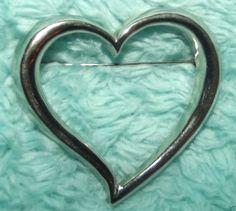 Swirl #Heart Silvertone Metal #Pin #Fashion Jewelry for Coat Jacket Lapel Scarf.