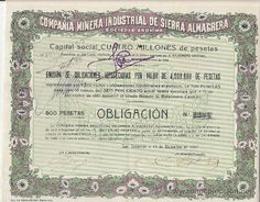 OBLIGACIÓN : COMPAÑIA MINERA INDUSTRIAL DE SIERRA ALMAGRERA, S.A. SAN SEBASTIAN año 1917