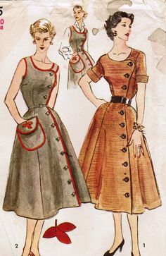 Vintage 1952 Simplicity 4105.... OMG, the type of dress my mom used to wear... Love that type of dress