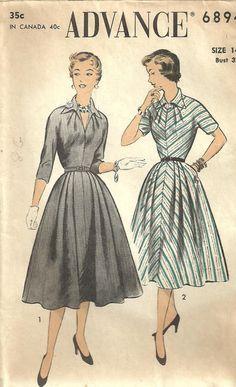 Vintage 50s Sewing Pattern Advance 6894 Dress by studioGpatterns, $16.50