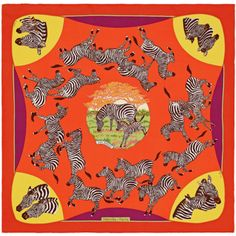 """""""Les Zèbres"""", 70x70 cm scarf in vintage silk. Design: Robert Dallet. Play with your Hermès scarf with the Silk Knots app! hermes.com/silkknots #Hermes #Silk #SilkKnots"""
