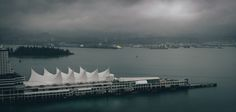 Looking North - Very wet day here, took the opportunity to head up to the roof and get some shots. Looking northwest past Canada Place at part of Stanley Park and the North Shore.