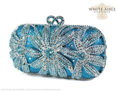 Aqua Crystal Clutch, Blue Bridal Clutch, Silver Minaudiere, Wedding Purse, Evening Bag, Luxury Clutch, Rhinestone Clutch