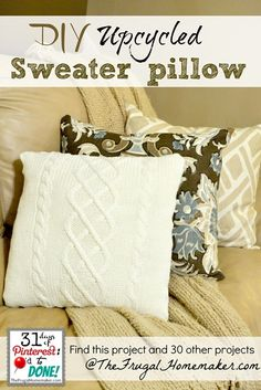 DIY Upcycled Sweater pillow tutorial (Day 19 of 31 days of Pinterest)  pillows for spare bedroom with old yellow sweater