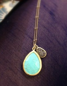 Stone Drop and Druzy Drop Necklace by stitchandstonedesign on Etsy, $40.00