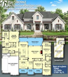 Modern Farmhouse with Split Bedrooms Architectural Designs Southern Farmhouse Home Plan with 4 Beds and Baths in Sq Ft.Architectural Designs Southern Farmhouse Home Plan with 4 Beds and Baths in Sq Ft. House Plans One Story, Family House Plans, Ranch House Plans, New House Plans, Dream House Plans, Small House Plans, Ranch Floor Plans, Dream Houses, Open Floor House Plans