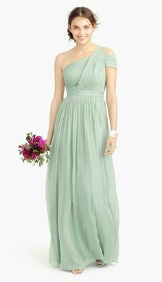 Dusty Shale one shoulder bridesmaid dresses from J.Crew