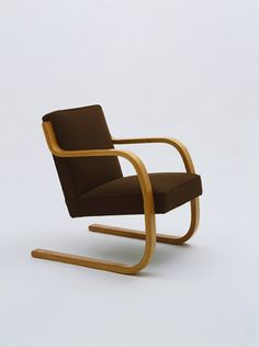 """Armchair  Alvar Aalto (Finnish, 1898–1976)    1932-33. Birch and upholstery, 29 3/8 x 23 1/2 x 28 11/16"""" (74.6 x 59.7 x 72.9 cm). Manufactured by Eggers, WI. Marcel Breuer Design Fund"""
