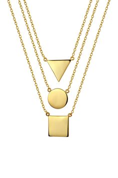 Bling Jewelry Gold Plated Sterling Silver Geometric Class Necklace Set