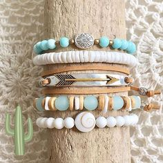 beach boho jewelry sea glass aqua shells driftwood coastal style bracelets bohemian beachy gypsy mermaid beachcomber by beachcombershop on Etsy