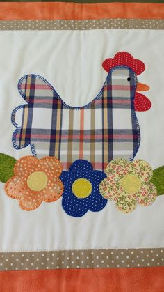 Applique Patterns, Applique Quilts, Applique Designs, Quilt Patterns, Hand Embroidery Patterns, Sewing Crafts, Sewing Projects, Chicken Quilt, Nursery Patterns