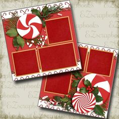 Peppermint Holiday - Christmas - 2 Premade Scrapbook Pages - EZ Layout 3578 Christmas Scrapbook Layouts, Album Scrapbook, Paper Bag Scrapbook, Birthday Scrapbook, Scrapbook Sketches, Scrapbook Page Layouts, Scrapbook Supplies, Scrapbook Images, Scrapbook Organization
