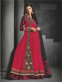 #Red And #Black #Faux Georgette #Anarkali #Suit #nikvik  #usa #designer #australia #canada #freeshipping #pakistani #suits