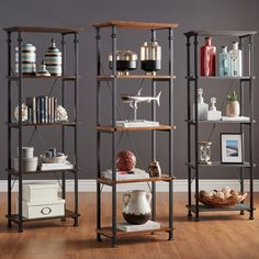 Myra Vintage Industrial Modern Rustic Bookcase by iNSPIRE Q Classic (Bistre Brown Finish)
