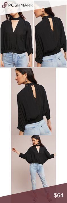 ANTHROPOLOGIE Maeve Surplice Hi-Neck Cutout Blouse BNWT ANTHROPOLOGIE Maeve Surplice High-Neck Cutout Blouse Size S This top is simple but very unique. It gives a clean and chic look. It's super comfy!  Color: BLACK 🌸 Buy before it sells out 🌸 Check out my otheritems 🌸 I'M ACCEPTING ALL REASONABLE OFFERS 🌸 ALL OF MY ITEMS COME FROM SMOKE FREE, AND PET FREE HOME. Anthropologie Tops