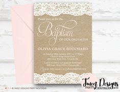 Wedding Invitations & Stationery by NellysPrint Party Invitations Kids, Baby Shower Invitations, Wedding Invitations, Christening Invitations, Pink Envelopes, Holy Cross, Table Cards, Ribbon Colors, Party Printables