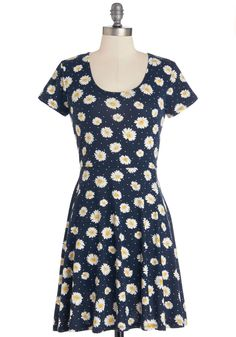 Simple Spring Saturday Dress. The sweetest things in life are uncomplicated, such as a morning trip to a farmer's market while wearing this navy-blue, floral dress! #blue #modcloth
