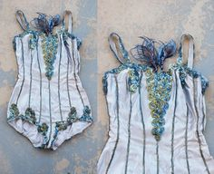 vintage 50s Showgirl Costume - Burlesque Dance Costume - Blue Sequin Romper Sz…