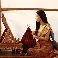 Traditional Thai Clothing, Traditional Dresses, Thai Dress, Make Your Own Clothes, Thai Art, Thai Style, Pattern And Decoration, Country Girls, Asian Beauty