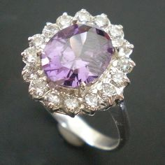 Oval Purple Cz Silver Wedding Ring Size Selectable US by yhtanaff, $35.00