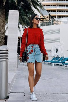 a43ce9a82cc9 12 Best Outfits with Jean Skirt images | Denim skirts, Casual ...