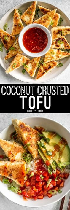 These subtly sweet Coconut Crusted Tofu dippers are the perfect vehicle for tangy sweet chili sauce. Serve as a snack or part of your favorite bowl meal. Sub the egg when breading the tofu. Vegetarian Recipes, Cooking Recipes, Healthy Recipes, Coconut Tofu Recipes, Cooking Ideas, Free Recipes, Pie Coconut, Korean Recipes, Vegetarian Cooking