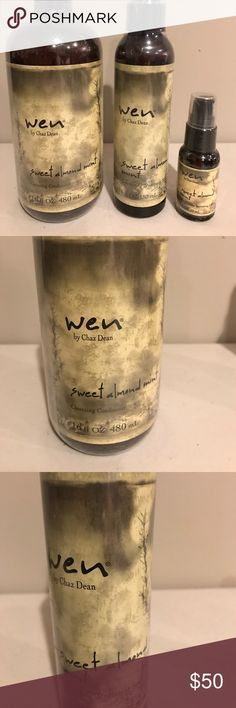 Three piece Wen Treatment Set One 16 oz  Sweet Almond Mint Cleansing Conditioner; One 6 oz Sweet Almond Mint Volumizing Treatment Spray: One Sweet Almond Milk Straightening Smoothing Gloss 1 oz Wen by Chaz Dean  Other