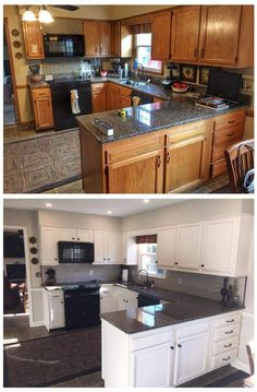 I like the wall color of the after photo Diy Kitchen Remodel, Kitchen Upgrades, Kitchen Redo, New Kitchen, Kitchen Dining, Home Upgrades, Home Renovation, Home Remodeling, Painting Kitchen Cabinets