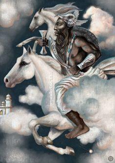 Obatalá by André Hora African American Art, African Art, Obatala Santeria, Orishas Yoruba, Estilo Tribal, African Mythology, African Symbols, Yoruba Religion, Black Anime Characters