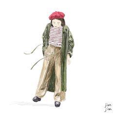 Street snap illustration   By @aotsuk   #intrart #plainme_snap #lookbook #red #beret #cherry #olivergreen #stripes #saintjames #illustration #illustrator #art #artwork #streetstyle #streetsnap #drawing #instagood #ootd #life #jianjian #見見 #台灣插畫 #插畫 #藝術