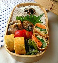 焼き塩鯖、玉子焼き、 お揚げの野菜巻き、小松菜とちりめんじゃこのごま油炒め、干し椎茸の佃煮