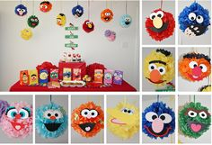 Tutorial - DIY Tissue Paper Pompoms for a Sesame Street Party. Has templates for the faces Elmo Birthday, First Birthday Parties, Birthday Party Themes, First Birthdays, Birthday Ideas, Pokemon Birthday, Seasame Street Party, Sesame Street Birthday, Tissue Paper Decorations