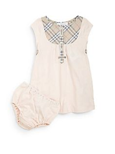 Burberry - Infant's Polly Check Bib Dress & Bloomers Set