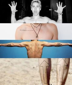 All of Jared's (visible) tats in one shot. He claims to have 10 total.