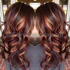 Brunette hair color with burnished blonde highlights Curly long brunette hair hotonbeauty.com