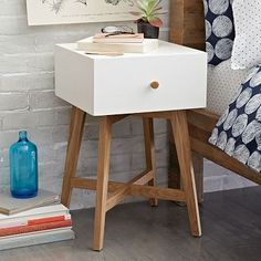 Tall Storage Nightstand - White #westelm - going into yoga/massage girl room (1)