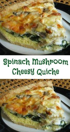 Spinach Mushroom Cheesy Quiche Ingredients 1 prepared pie crust 4 eggs 1 teaspoon garlic powder 4 finely minced garlic cloves 1 small onion finely minced 1 cup crumbled feta cheese and 3 cups fresh spinach. Breakfast Quiche, Breakfast Dishes, Breakfast Recipes, Vegan Breakfast, Dinner Recipes, Spinach Quiche Recipes, Veggie Quiche, Easy Quiche, Healthy Quiche Recipes