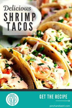 Easy, healthy and, most importantly FABULOUS Shrimp Tacos! With cabbage and radish slaw for crunch and creamy, spicy Shrimp Taco Sauce! Easy Summer Meals, Healthy Summer Recipes, Easy Dinner Recipes, Appetizer Recipes, Seafood Recipes, Mexican Food Recipes, Vegetarian Recipes, Ethnic Recipes, Spicy Shrimp Tacos