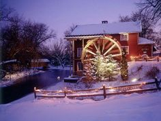 Ye olde watermill decorated for Christmas