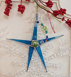 Whimsical Stained Glass Christmas Star Deep Teal with by miloglass, $16.00