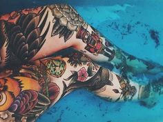 And this person proves that having no theme is just as beautiful. 23 Insanely Intricate Leg Sleeve Tattoos This. Tattoos Bein, Badass Tattoos, Love Tattoos, Beautiful Tattoos, Girl Tattoos, Beautiful Beautiful, Pretty Tattoos, Beautiful Person, Piercings