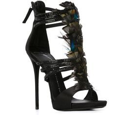 Giuseppe Zanotti Design feather sandals ($1,590) ❤ liked on Polyvore featuring shoes, sandals, strappy sandals, feather sandals, black strappy shoes, strappy stiletto sandals and open toe sandals