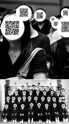 fotos de gente. Tienen la cara oculta por un círculo conteniendo un código QR