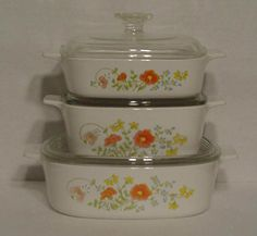 TRUE CORNING casserole Corelle Wildflower 1 + 1 1/2  + 2 Qt  Pyrex lids #originaltruecorningcasserolespyrexlids