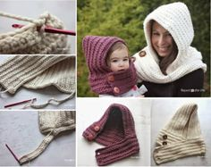 Hooded Cowel Free Pattern wonderfuldiy Wonderful DIY Crochet Hooded Cowl with…How cute are these crochet Hooded Cowls ! They are comfy and warmth , you can make them for you and your kids. Free pattern by Repeat Crafter Me . The yarn is super bulky Diy Crochet, Crochet Crafts, Crochet Baby, Crochet Projects, Crochet Stitch, Crochet Hooded Cowl, Knit Cowl, Knitted Cowls, Cowl Scarf