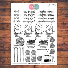 Knitting Planner Stickers Doodle Planner Stickers Wool Knit