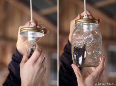DIY ♥ღ mason jar lamp Pot Mason, Mason Jar Diy, Mason Jar Lamp, Mason Jar Light Fixture, Mason Jar Lighting, Light Fixtures, Yard Furniture, Do It Yourself Home, Best Gifts