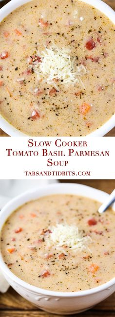 Tomato Recipes This Tomato Basil Parmesan Soup is comfort food in a bowl! - This Tomato Basil Parmesan Soup is comfort food in a bowl! Slow Cooker Recipes, Crockpot Recipes, Cooking Recipes, Cooking Tips, Keto Recipes, Bowl Of Soup, Soup And Salad, Soup Bowls, Food Network