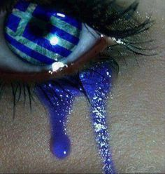 """""""An eye sees the Greek flag and weeps. It weeps for the current situation, it weeps about Greece's degradation, it weeps about what has come and what will come…"""" This pictur… Gorgeous Eyes, Pretty Eyes, Cool Eyes, Amazing Eyes, Sad Eyes, Crying Eyes, Greek Flag, Crazy Eyes, Look Into My Eyes"""