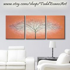 ON SALE!! 48 inches, 3 piece Wall art set, Terra Cotta Red Paintings, Large wall decor Canvas Trees, set of 3, art, Tree painting decor original by ToddEvansArt, $100.00